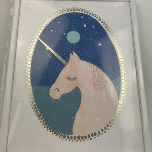NWOT White Framed Unicorn Print 11x15